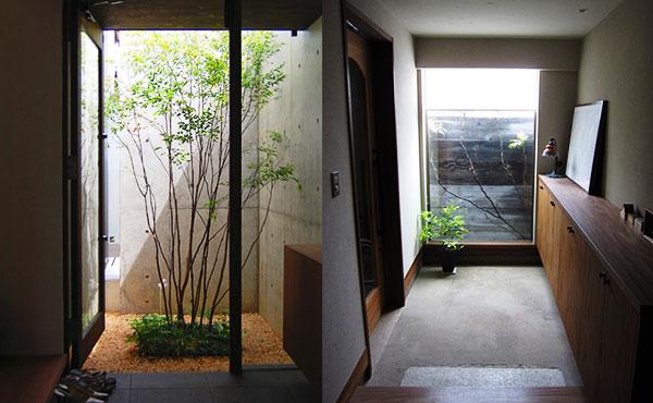 おしゃれな中庭2玄関のアイキャッチ
